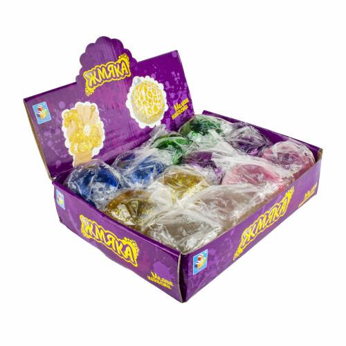 1toy Мелкие пакости, жмяка в сетке с блестками, 7 см, 6 цветов, 12шт в д/боксе Т16195