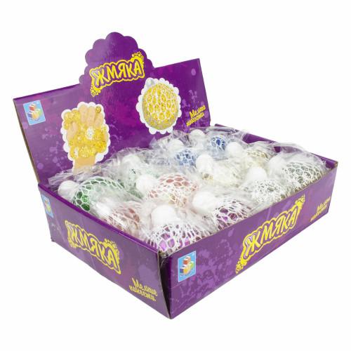 1toy Мелкие пакости, жмяка в сетке с  крупными блестками, 7см, 6 цветов, 12шт в д/боксе Т16196