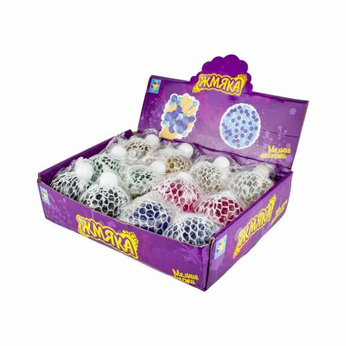1toy Мелкие пакости, жмяка в сетке с перламутровым гелем, 7см, 6 цветов, 12шт в д/боксе Т16198