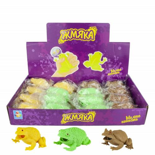 1toy Мелкие пакости, жмяка лягушка с разноцветными шариками, 6,3см, 3 цвета, 16 шт в д/боксеТ16200